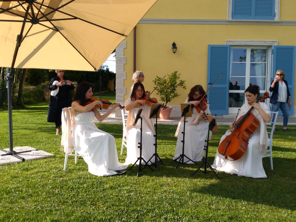 Il quartetto d'archi alla presentazione di Villa Baldacchini