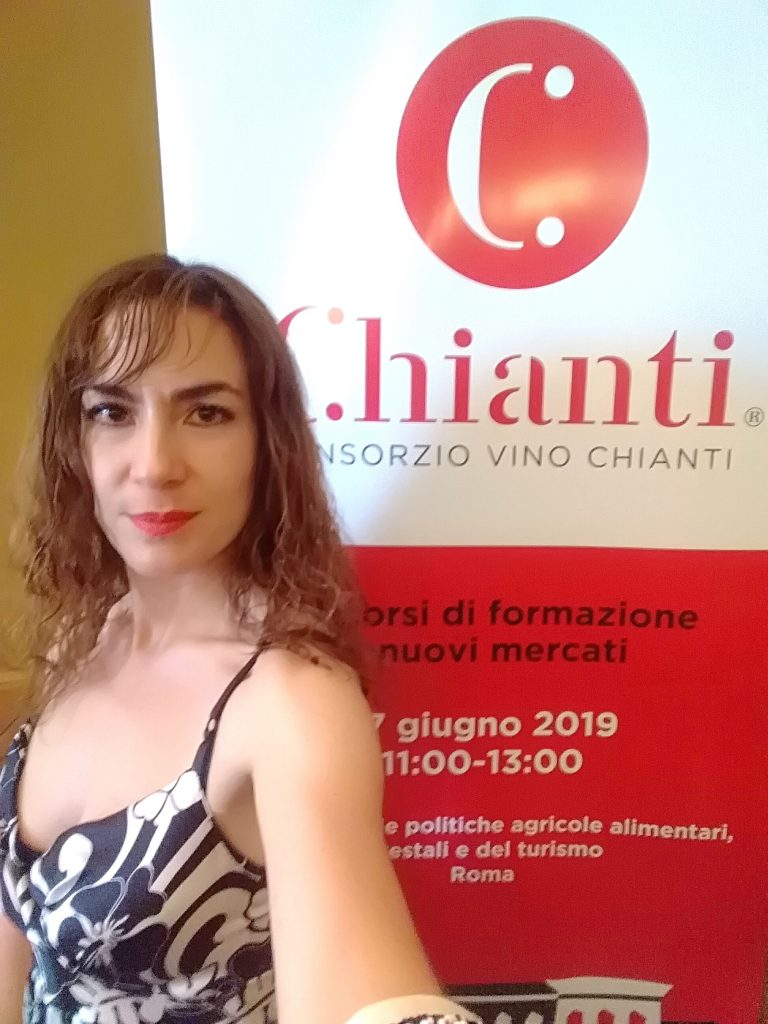 Candy Valentino at the conference about Italian wine in the world