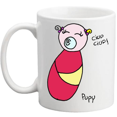 tazza con un disegno di Pupy